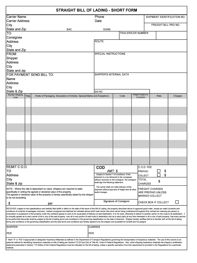 Personal Bill Of Lading Short Form Template Excel Inside Bill Of Lading Short Form Template Excel Free Download