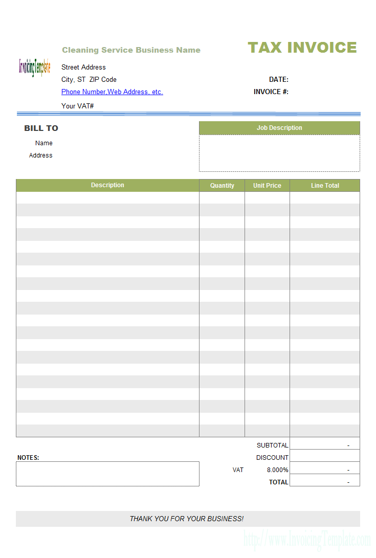 Personal Cleaning Invoice Template Excel In Cleaning Invoice Template Excel Printable