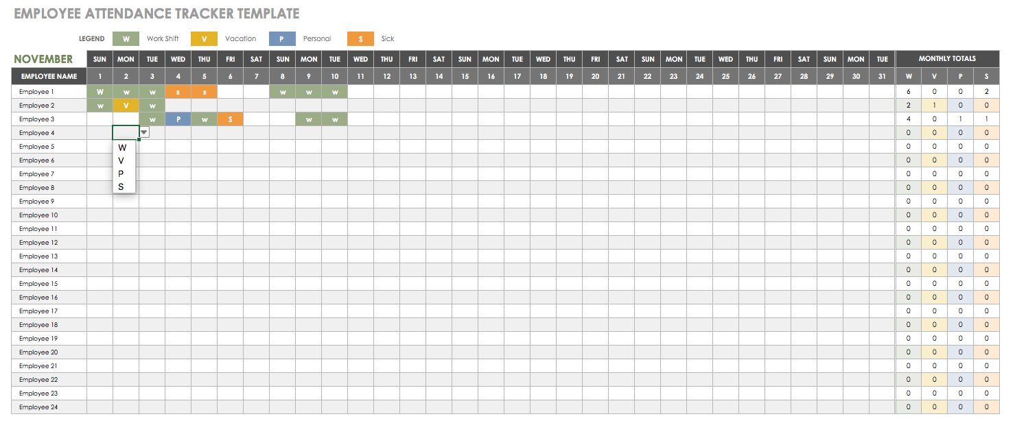 Personal Employee Attendance Record Template Excel And Employee Attendance Record Template Excel Samples
