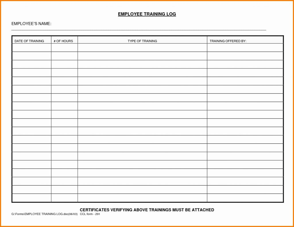 Personal Employee Training Log Template Excel Throughout Employee Training Log Template Excel Letter