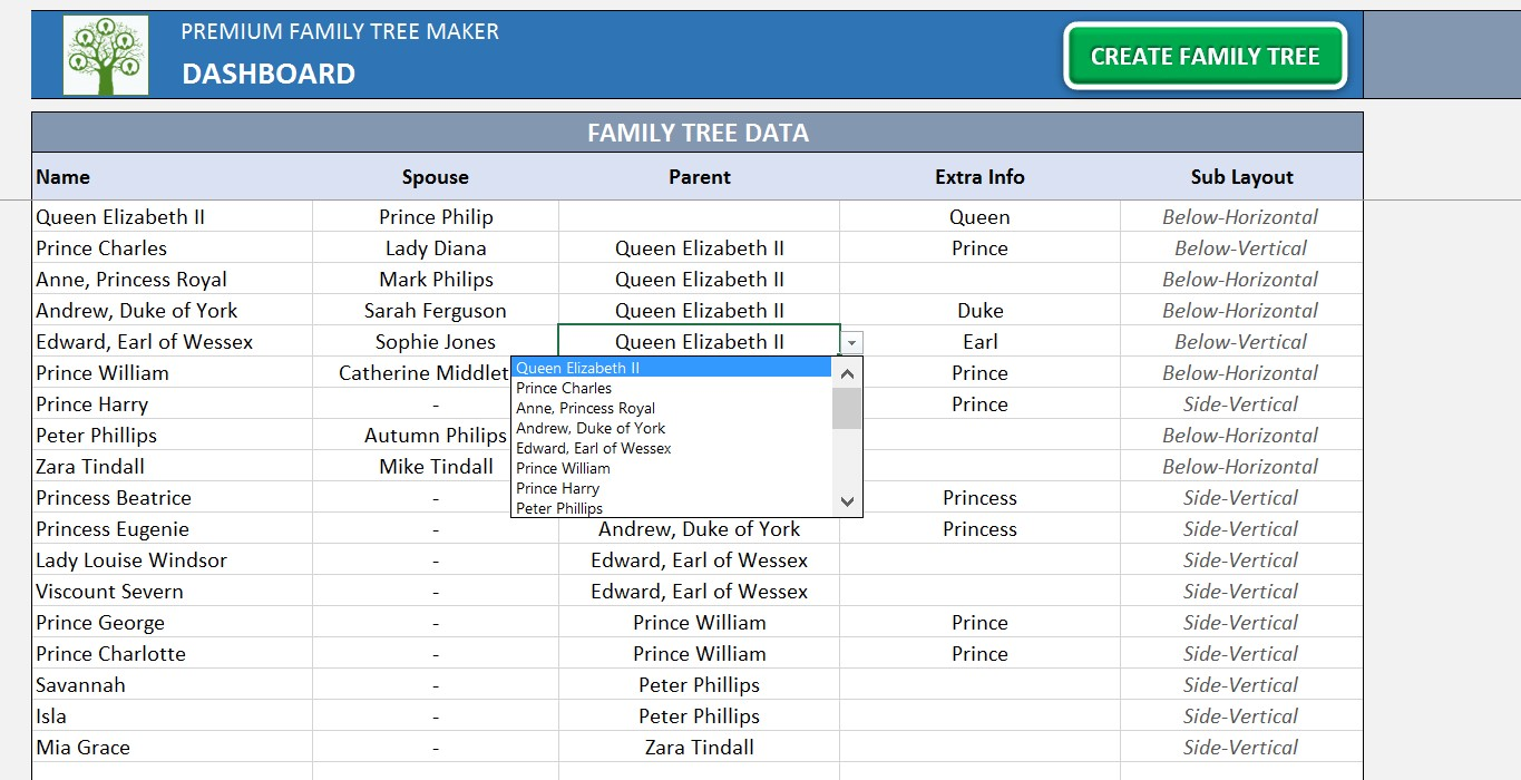 Personal Excel Genealogy Template With Excel Genealogy Template Samples