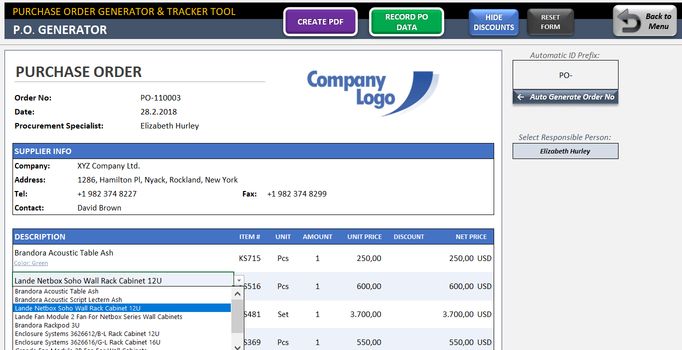 Personal Excel Purchase Order Template With Database Within Excel Purchase Order Template With Database Samples