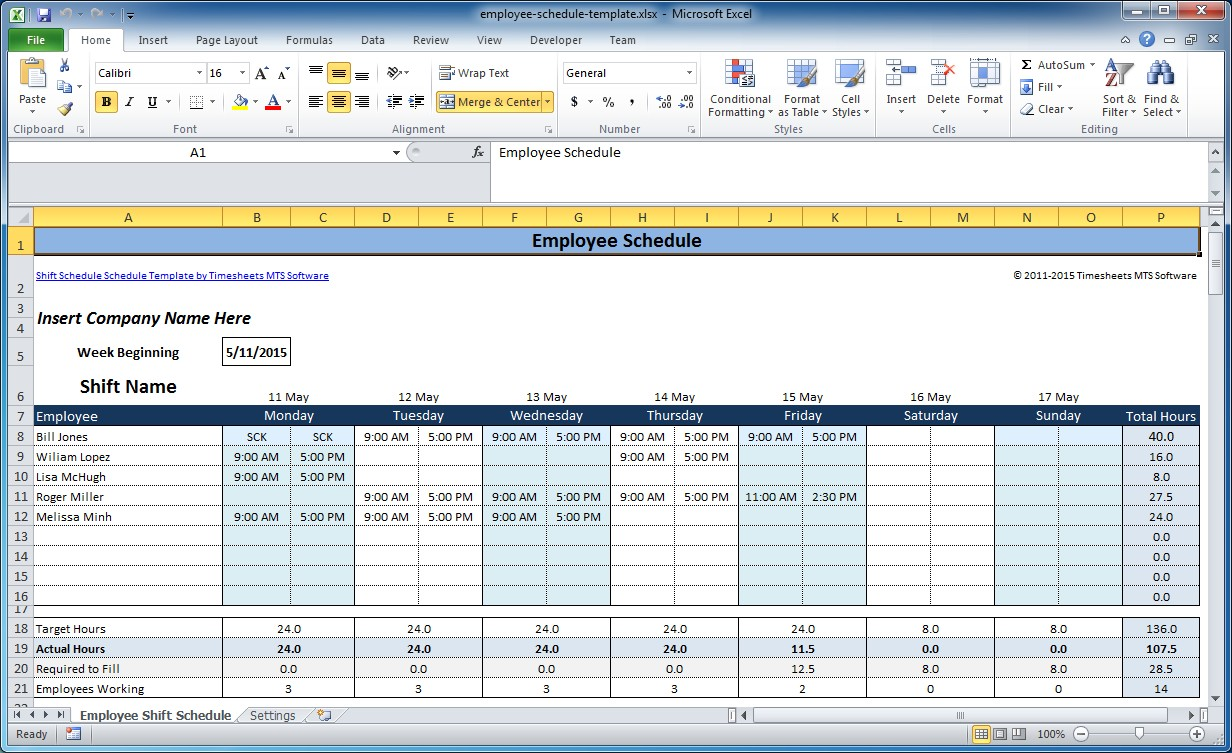 Personal Excel Work Schedule Template And Excel Work Schedule Template Example