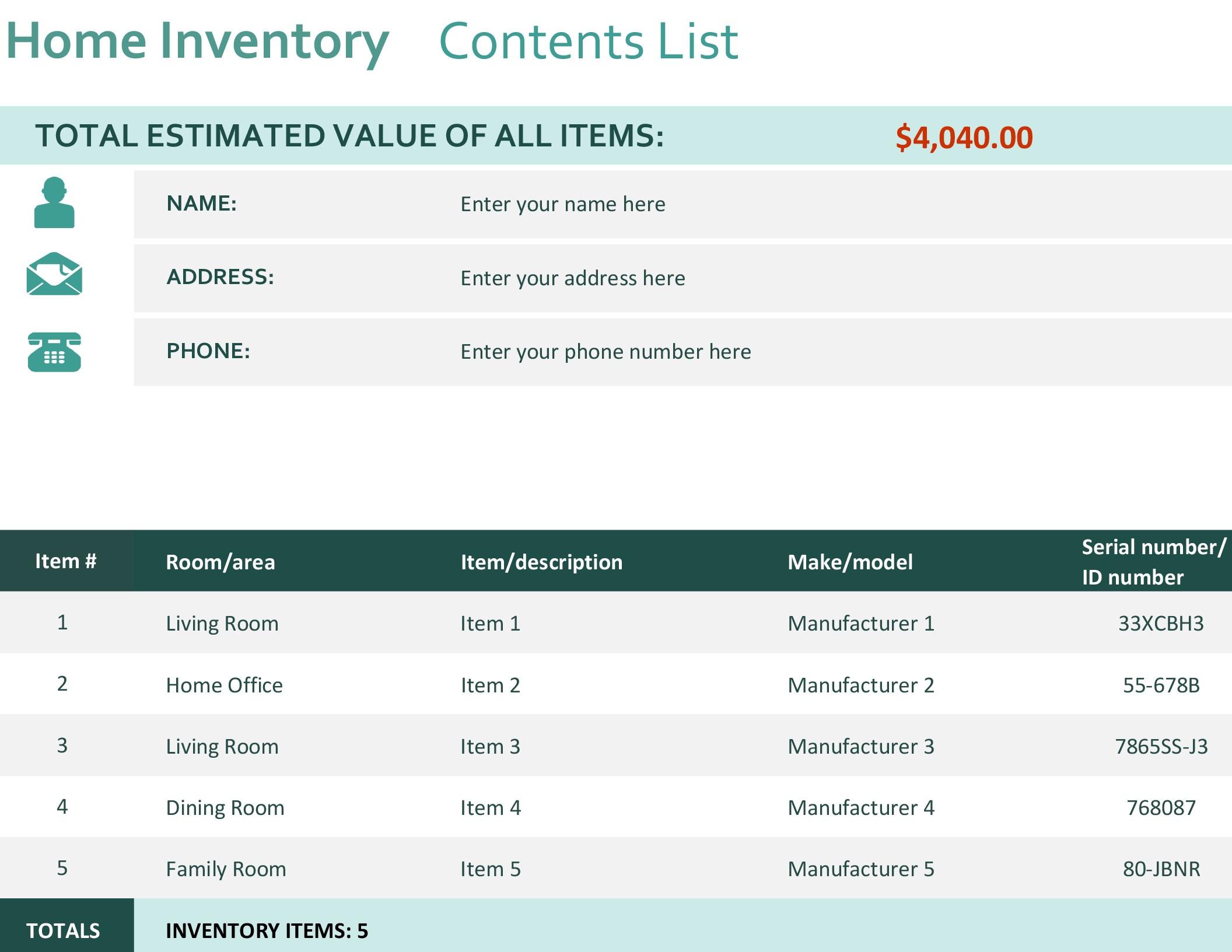 Personal Financial Inventory Worksheet Excel for Financial Inventory Worksheet Excel Templates