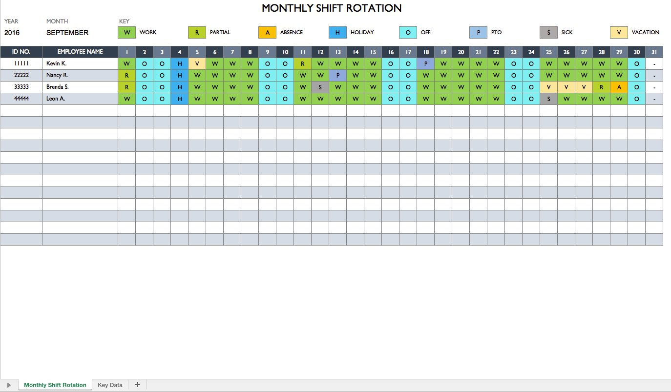 Personal Monthly Employee Work Schedule Template Excel Throughout Monthly Employee Work Schedule Template Excel Xlsx