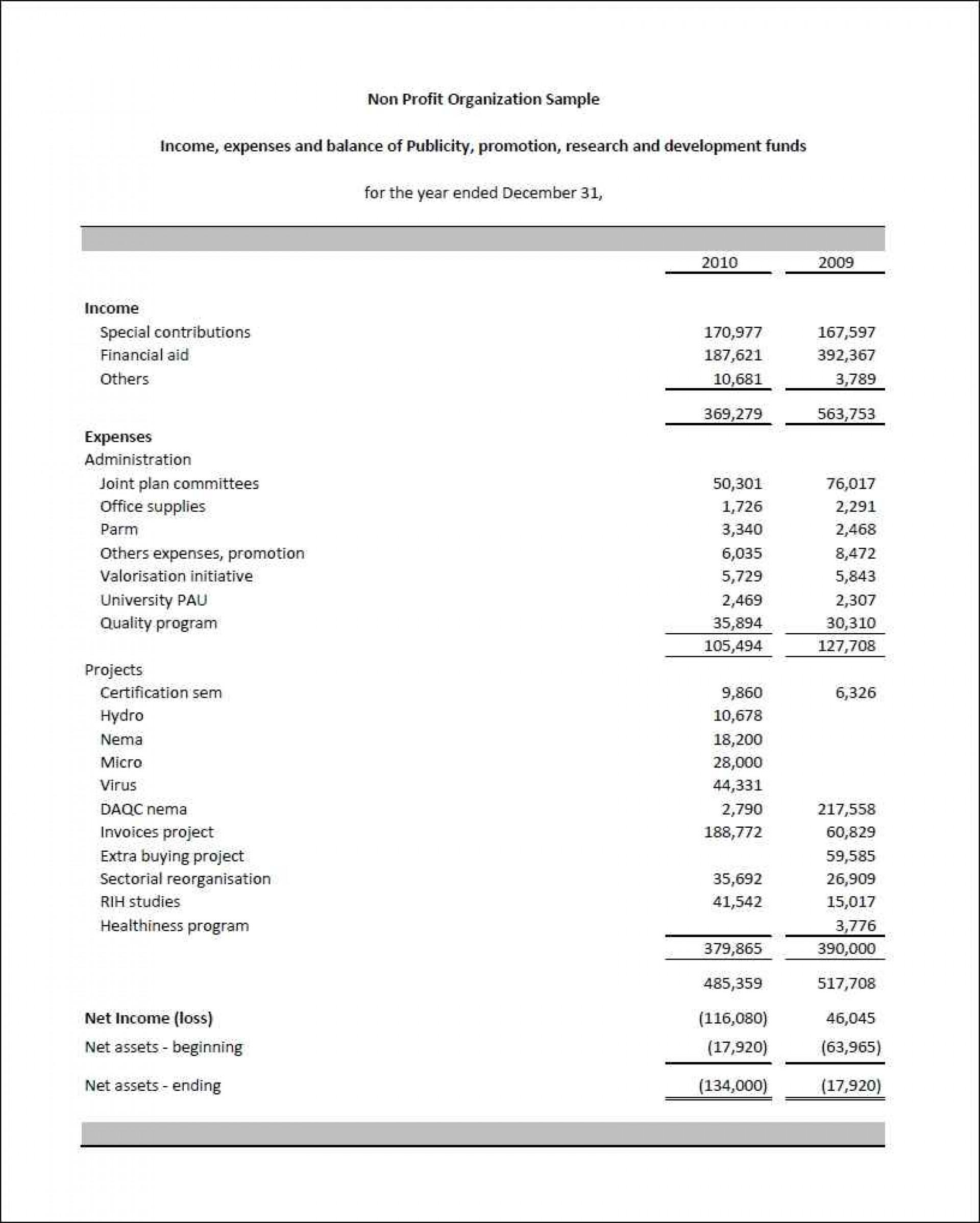 Personal Non Profit Financial Statement Template Excel And Non Profit Financial Statement Template Excel Download