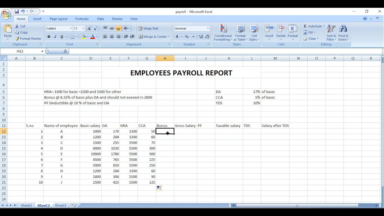 Personal Payroll Format In Excel Throughout Payroll Format In Excel Xlsx