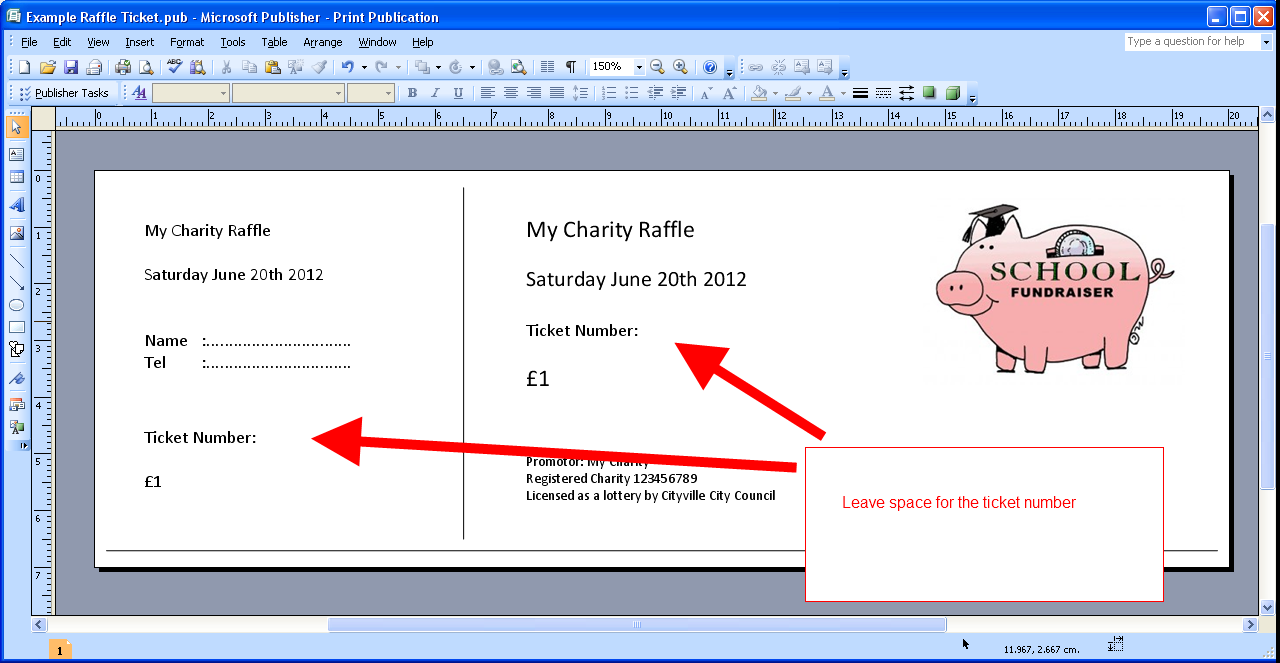 Personal Raffle Ticket Template Excel For Raffle Ticket Template Excel Printable