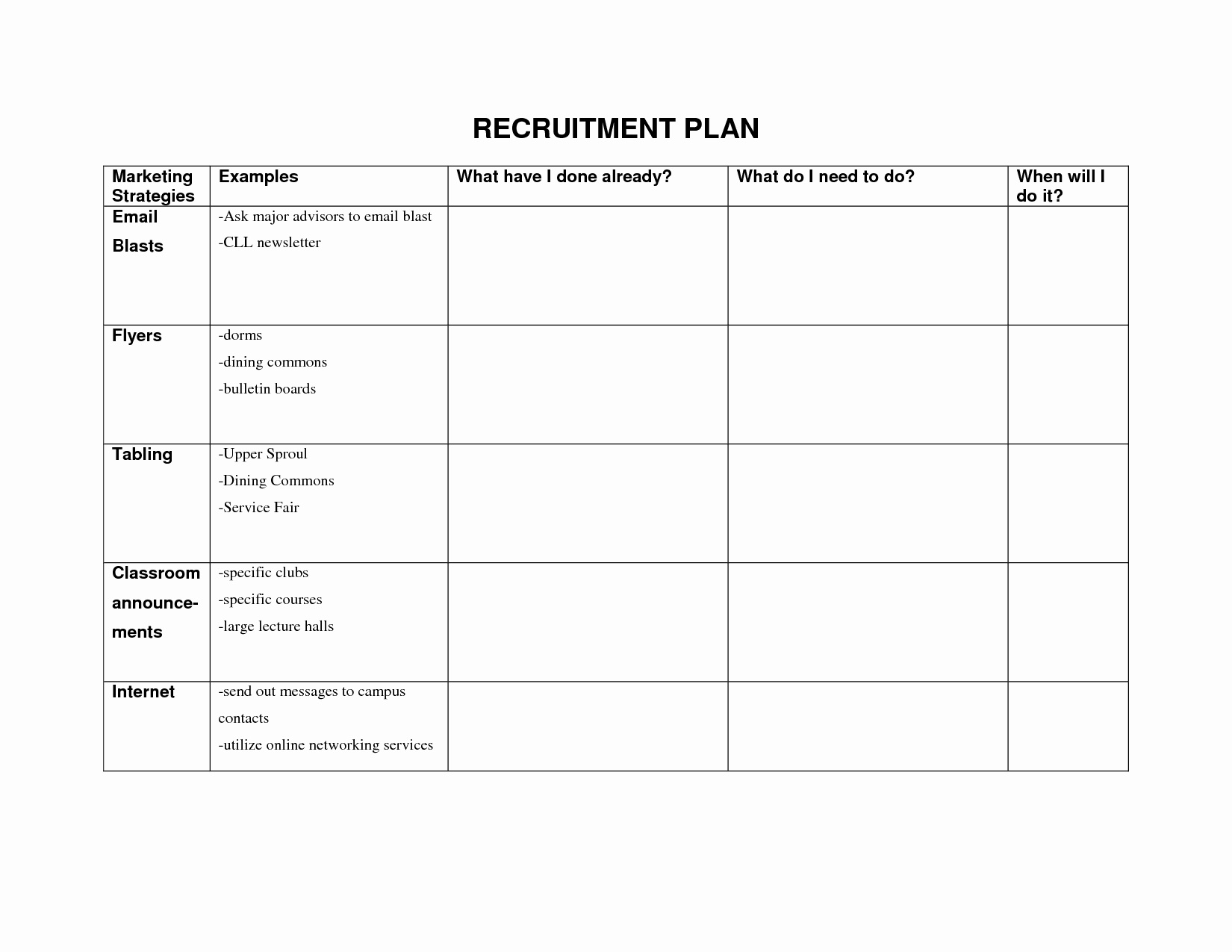 Personal Recruitment Plan Template Excel To Recruitment Plan Template Excel Sample
