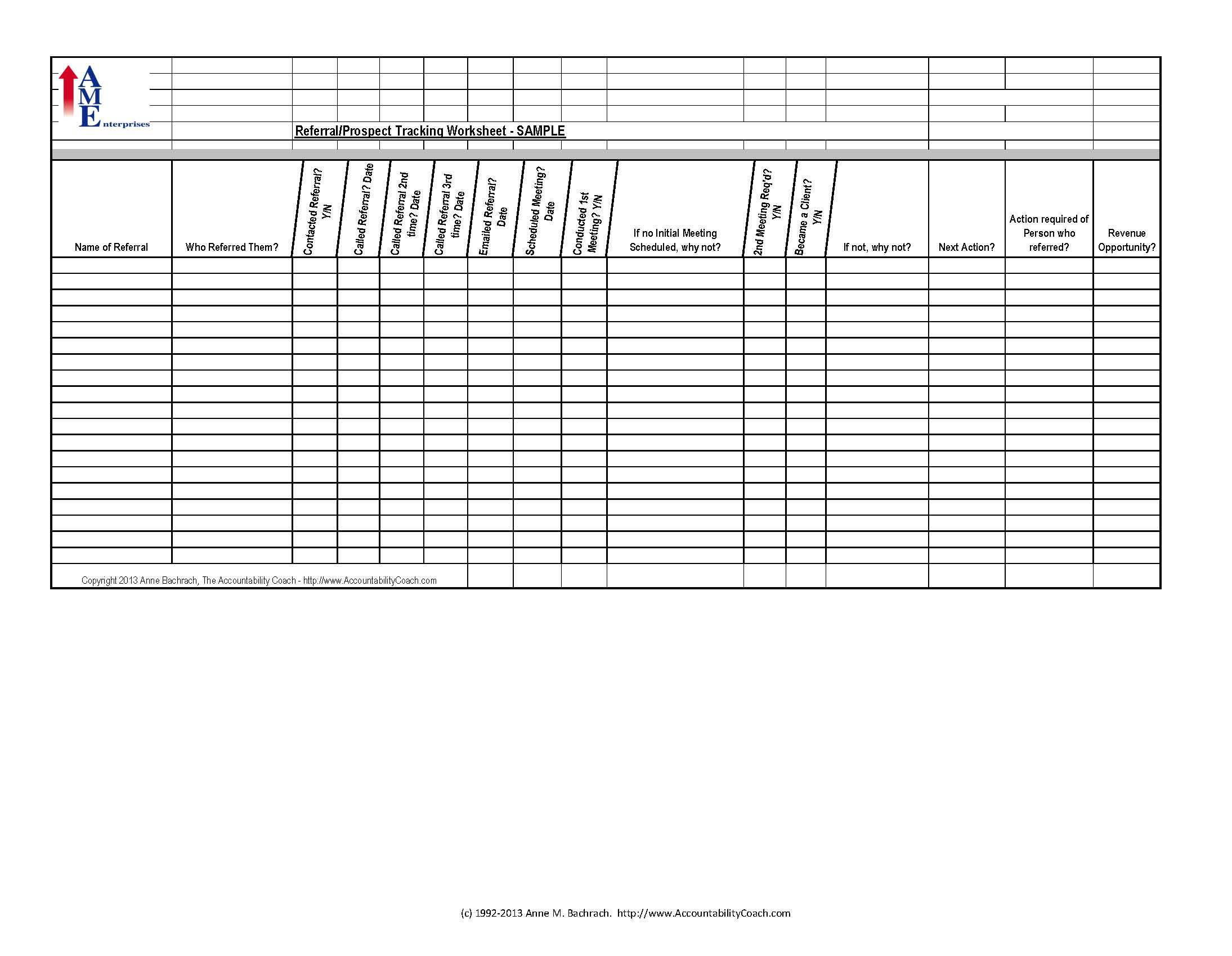 Personal Referral Tracker Excel Template Intended For Referral Tracker Excel Template Sheet