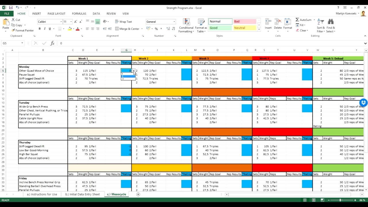 Personal Renaissance Periodization Template Excel To Renaissance Periodization Template Excel Download