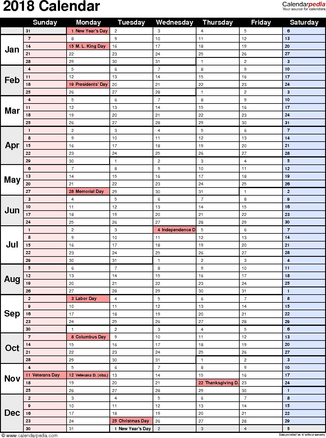 Printable 2018 Calendar Template Excel In 2018 Calendar Template Excel Example