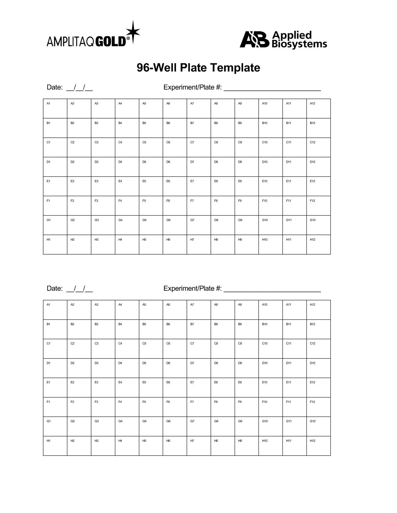 Printable 96 Well Plate Template Excel Throughout 96 Well Plate Template Excel Examples