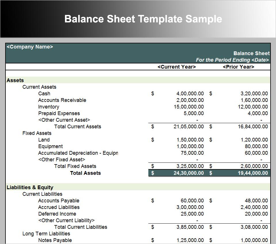 Printable Balance Sheet Format In Excel Inside Balance Sheet Format In Excel Templates