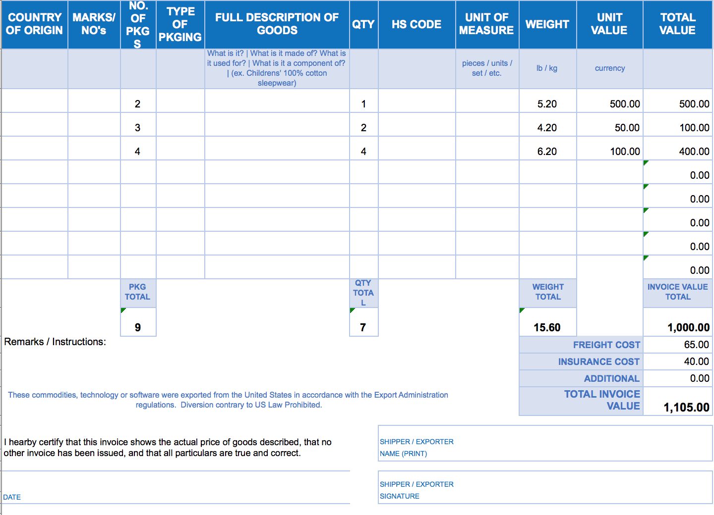 Printable Company Invoice Template Excel Intended For Company Invoice Template Excel Examples