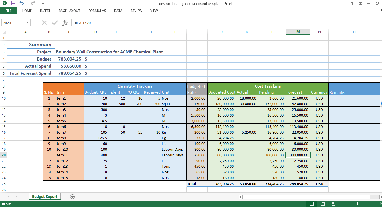 Printable Construction Cost Excel Template Inside Construction Cost Excel Template Xls