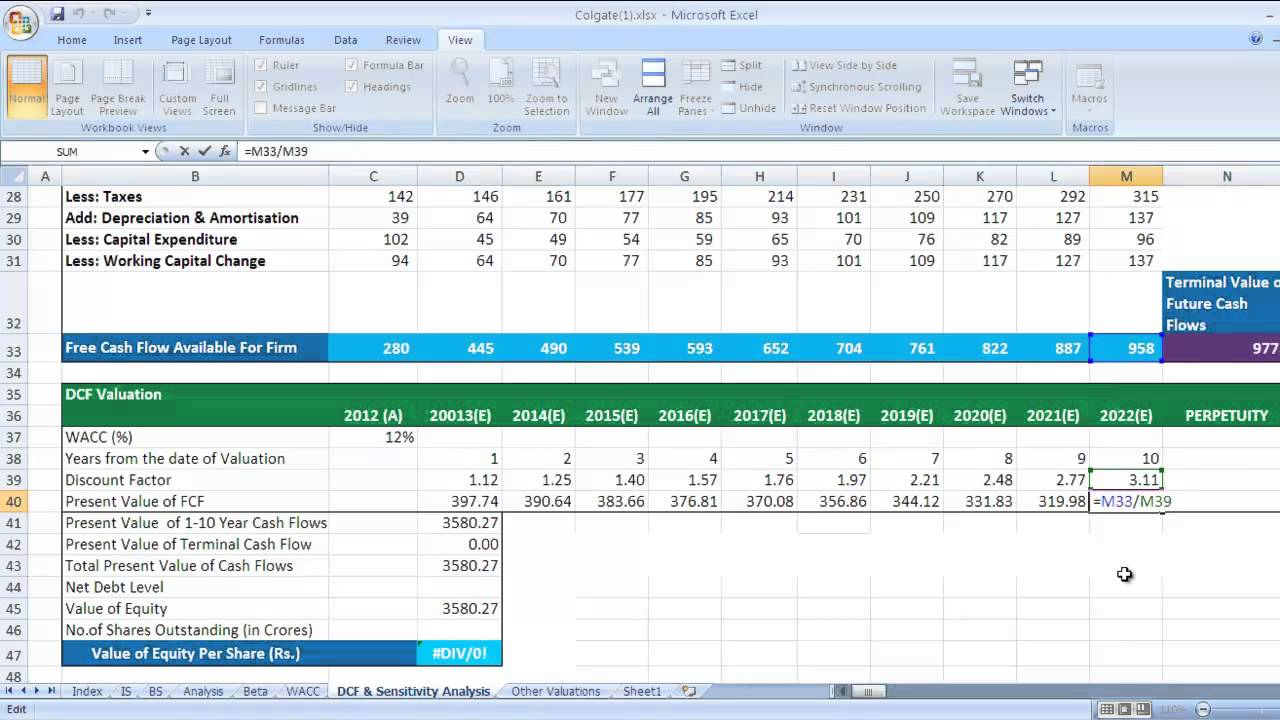 Printable Dcf Excel Template And Dcf Excel Template Download For Free