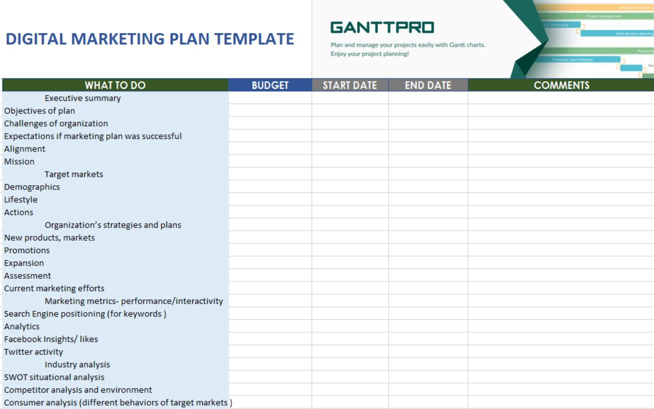 Printable Digital Marketing Plan Excel Template And Digital Marketing Plan Excel Template Printable