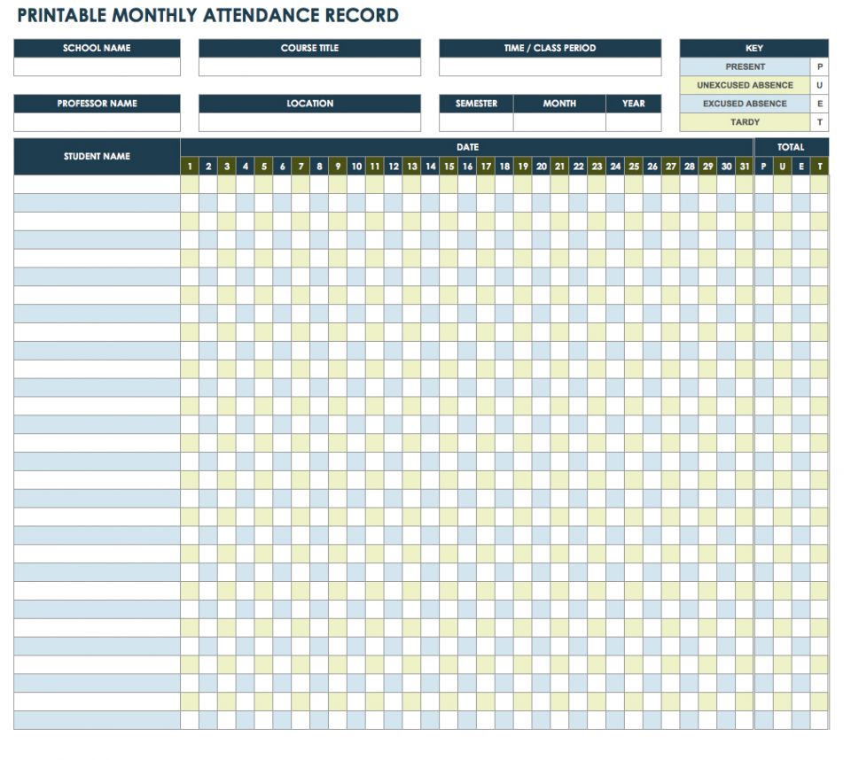 Printable Employee Attendance Record Template Excel Intended For Employee Attendance Record Template Excel Download For Free