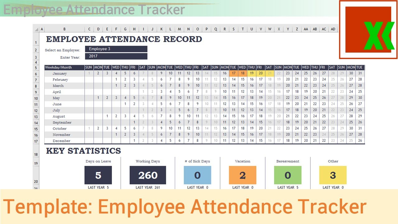 Printable Employee Monthly Attendance Sheet Template Excel For Employee Monthly Attendance Sheet Template Excel Examples