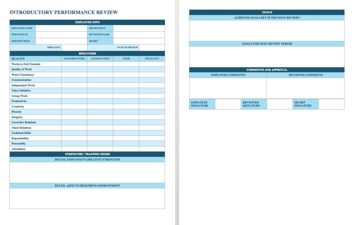 Printable Employee Performance Evaluation Template Excel With Employee Performance Evaluation Template Excel Templates