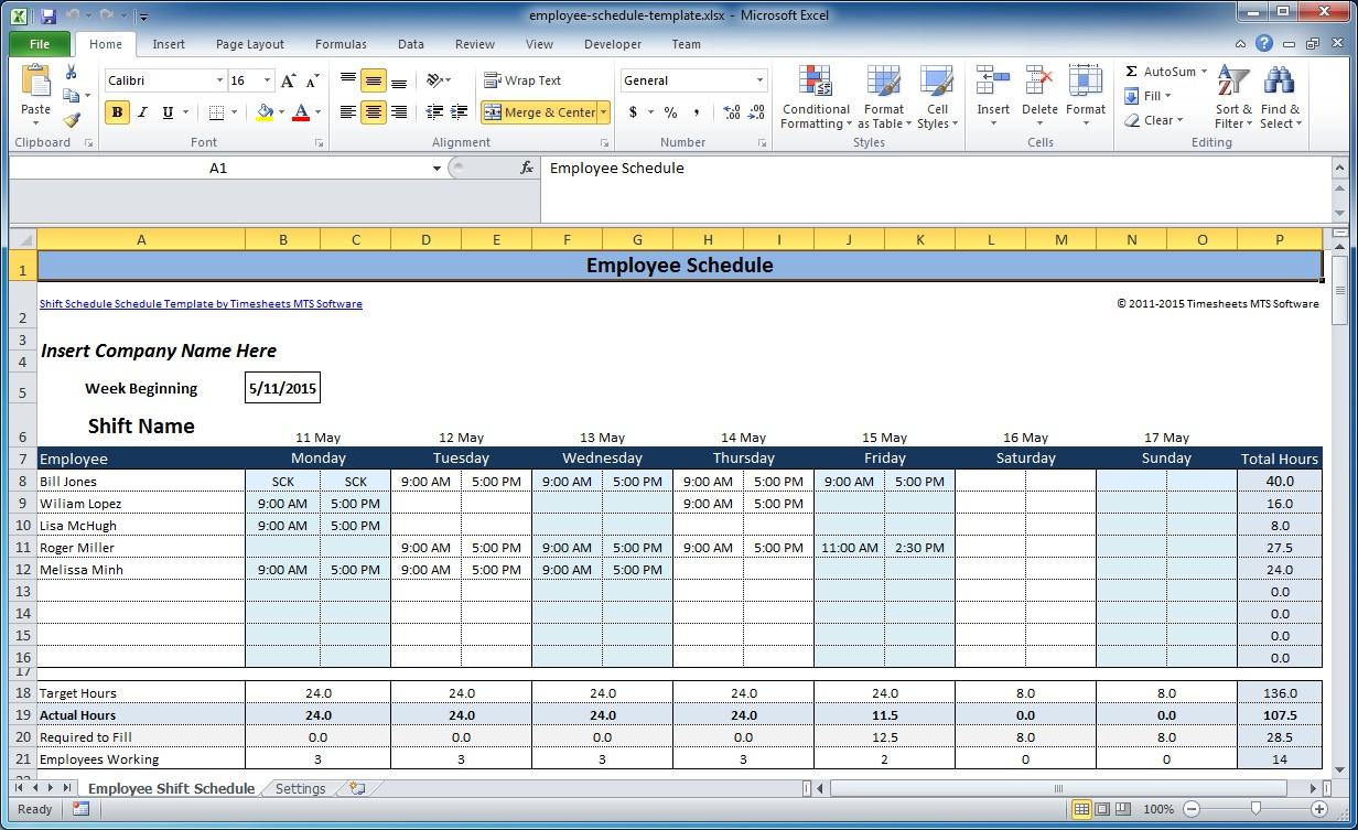 Printable Excel Employee Schedule Template With Excel Employee Schedule Template In Excel