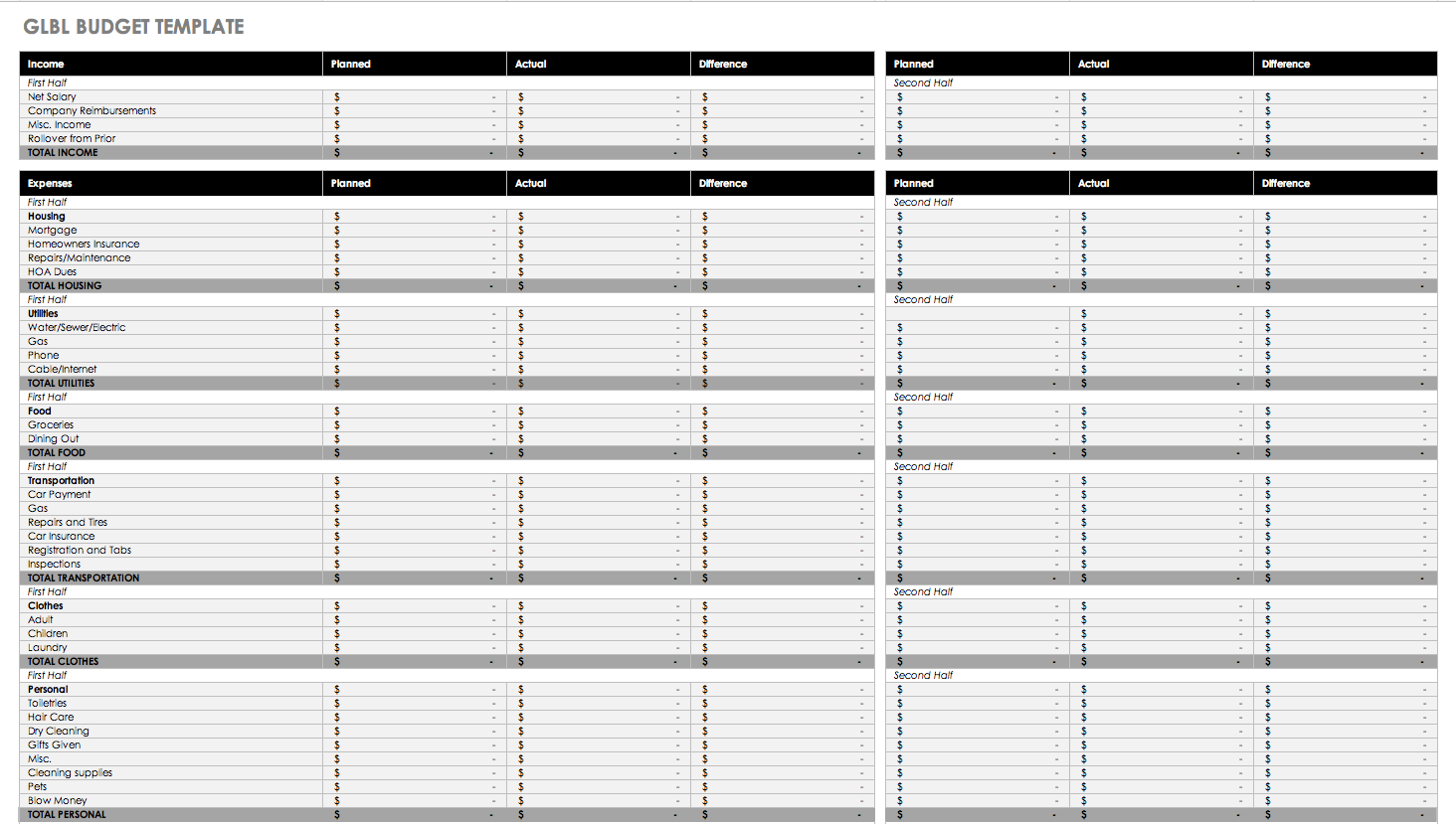 Printable Excel Home Expense Spreadsheet Within Excel Home Expense Spreadsheet Letter