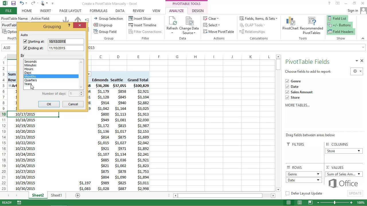 Printable Excel Pivot Table Example Intended For Excel Pivot Table Example Letters