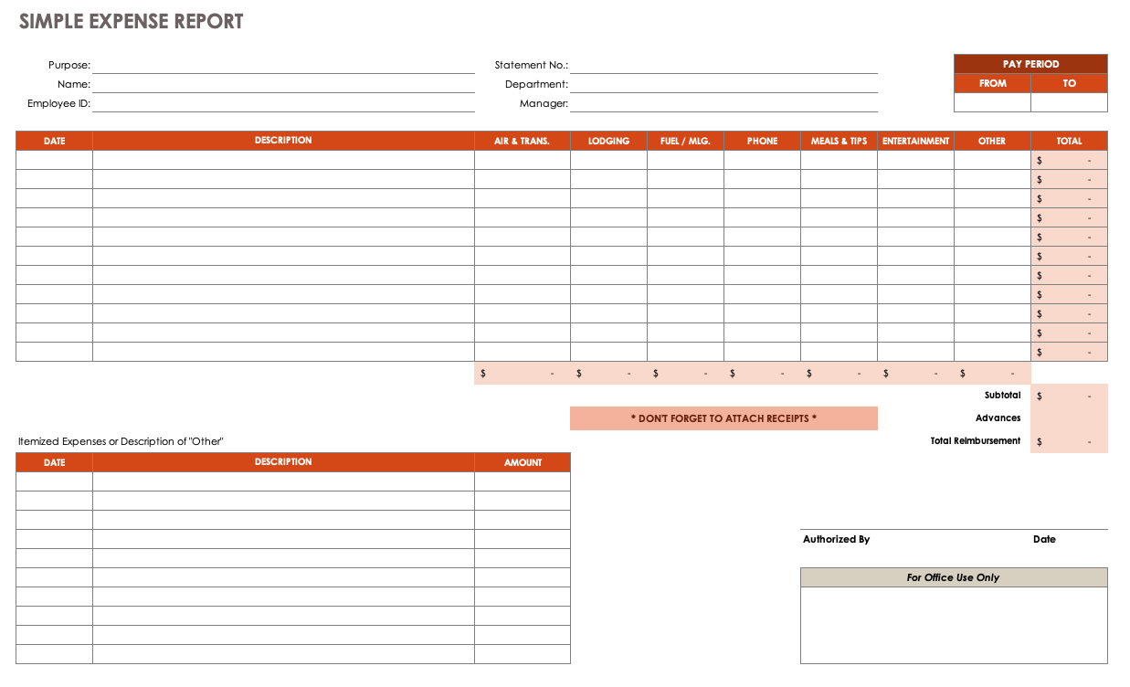 Printable Expense Report Template Excel 2019 Intended For Expense Report Template Excel 2019 Letters