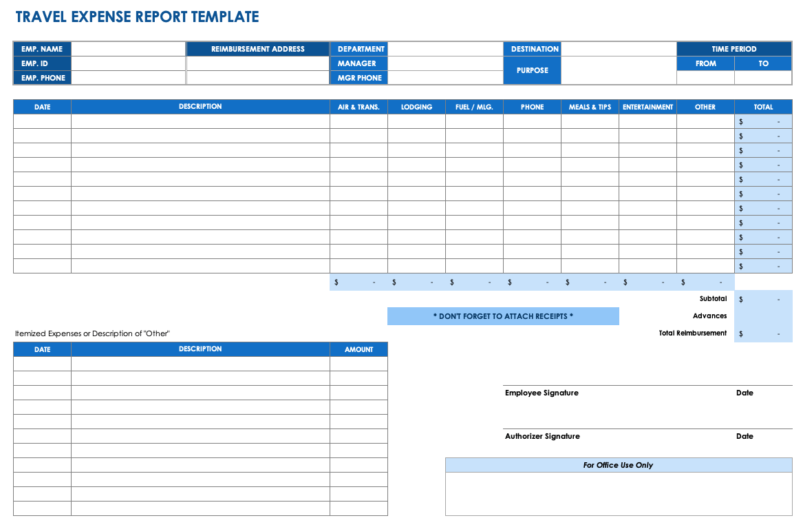 Printable Expense Report Template Excel Inside Expense Report Template Excel Examples