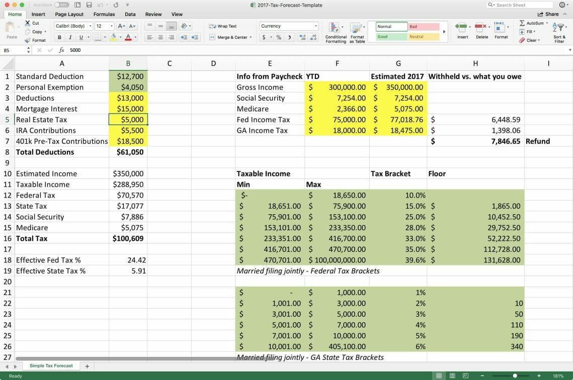 Printable Income Tax Excel Template For Income Tax Excel Template For Free