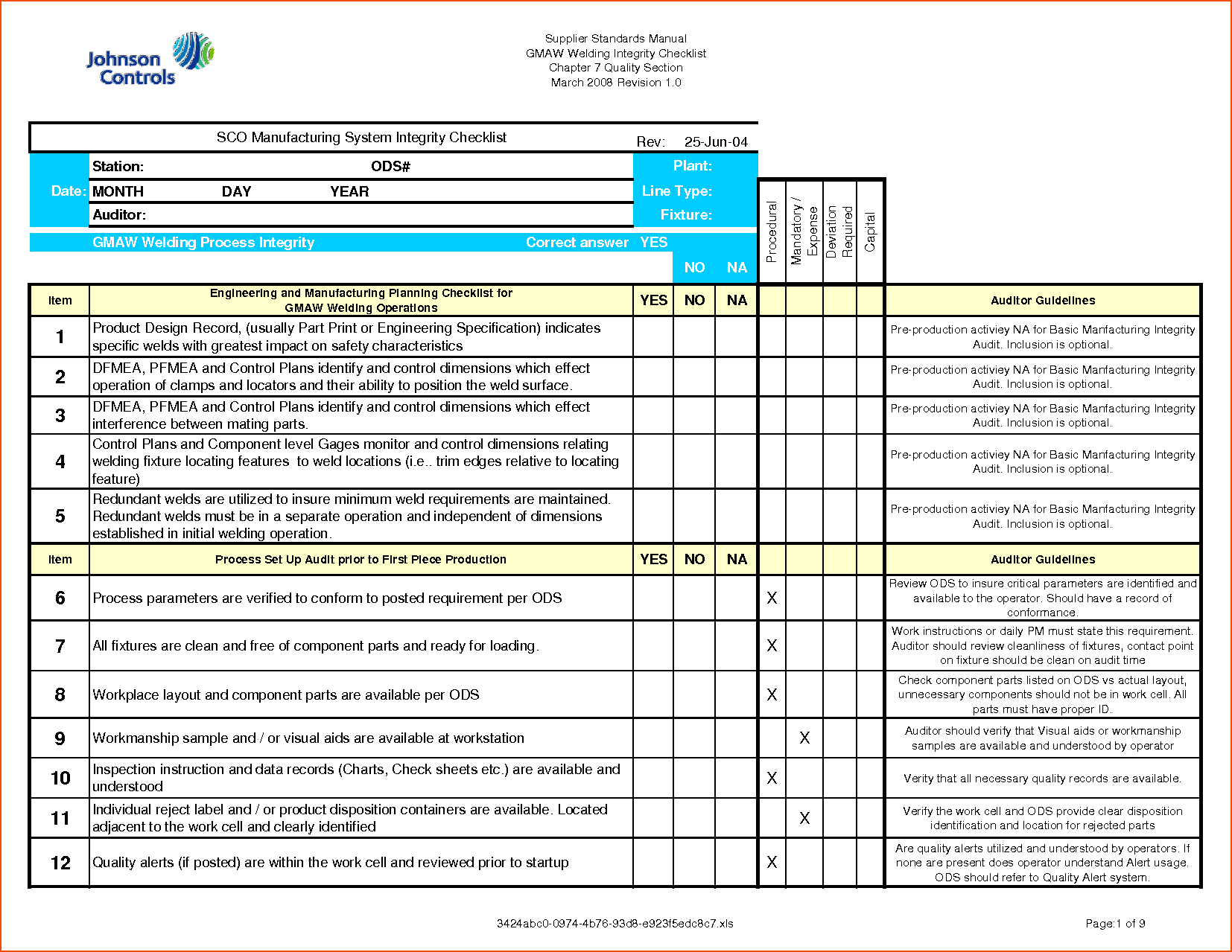 Printable Iso 9001 Audit Checklist Excel Xls Template With Iso 9001 Audit Checklist Excel Xls Template Example