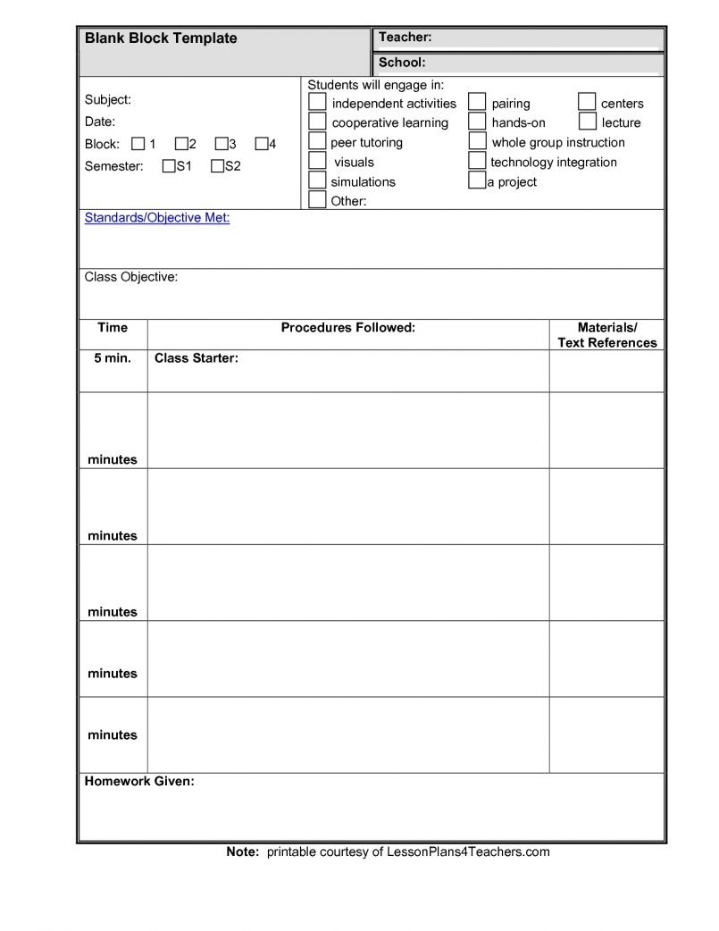 Printable Lesson Plan Template Excel Spreadsheet Within Lesson Plan Template Excel Spreadsheet Download For Free