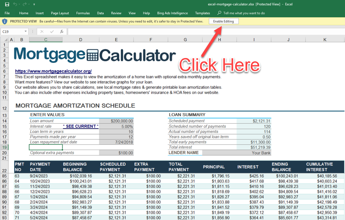 Printable Mortgage Calculator Excel Template With Mortgage Calculator Excel Template Document
