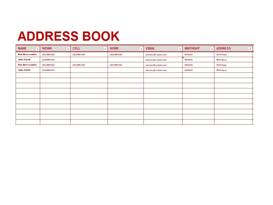 Printable Phone Book Template Excel Throughout Phone Book Template Excel For Free