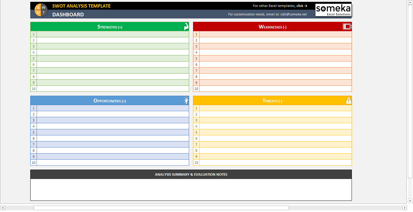 Printable Swot Analysis Template Excel In Swot Analysis Template Excel For Google Sheet