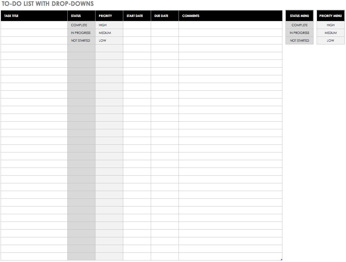 Printable Task List Template Excel Spreadsheet Inside Task List Template Excel Spreadsheet In Excel