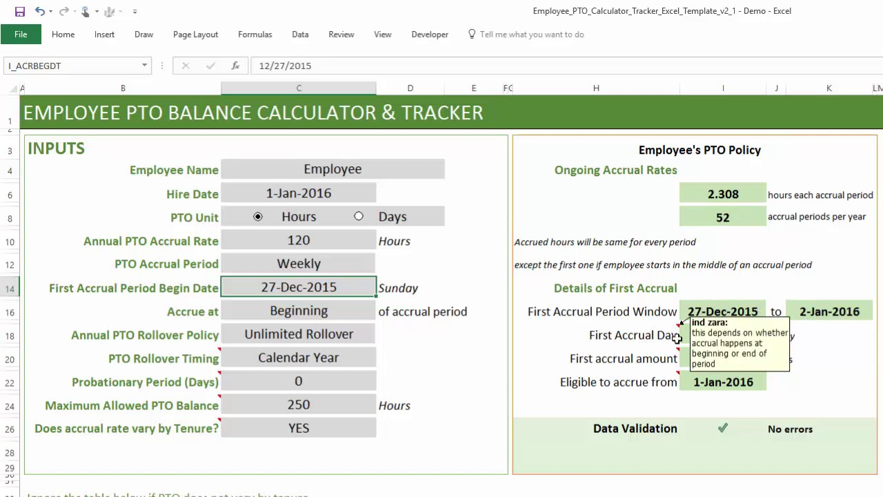 Printable Vacation Accrual Calculator Excel Template Inside Vacation Accrual Calculator Excel Template Samples