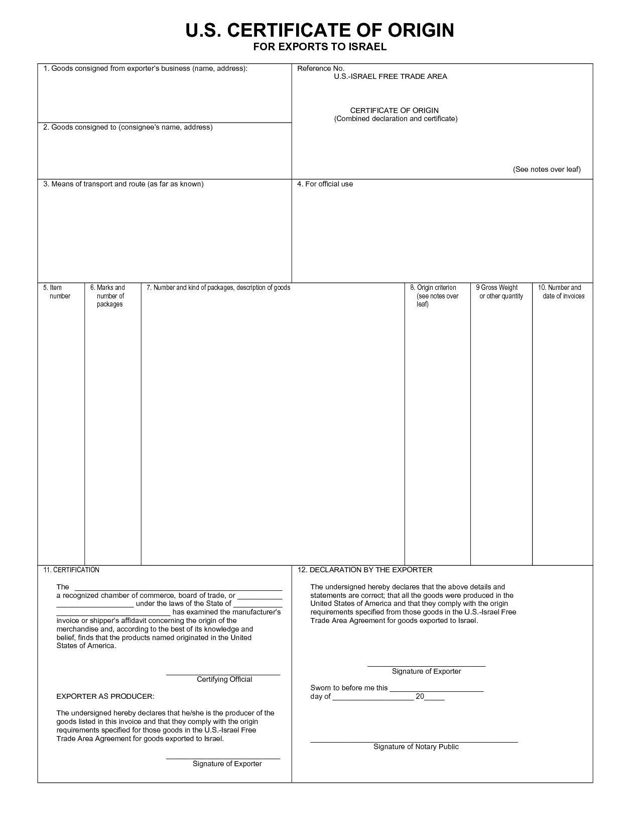 Sample Of Certificate Of Origin Template Excel And Certificate Of Origin Template Excel For Free
