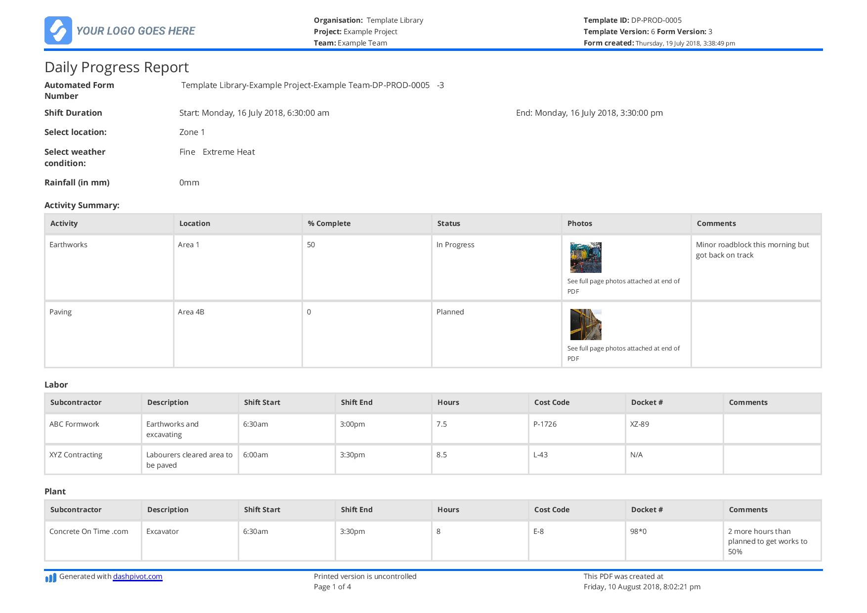 Sample Of Daily Progress Report Format Excel Construction With Daily Progress Report Format Excel Construction Example