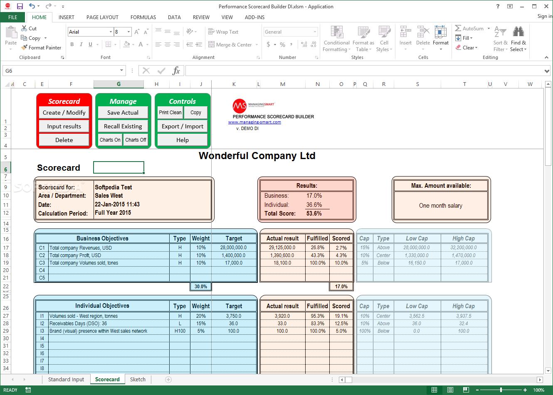 Sample Of Employee Performance Scorecard Template Excel For Employee Performance Scorecard Template Excel Xls