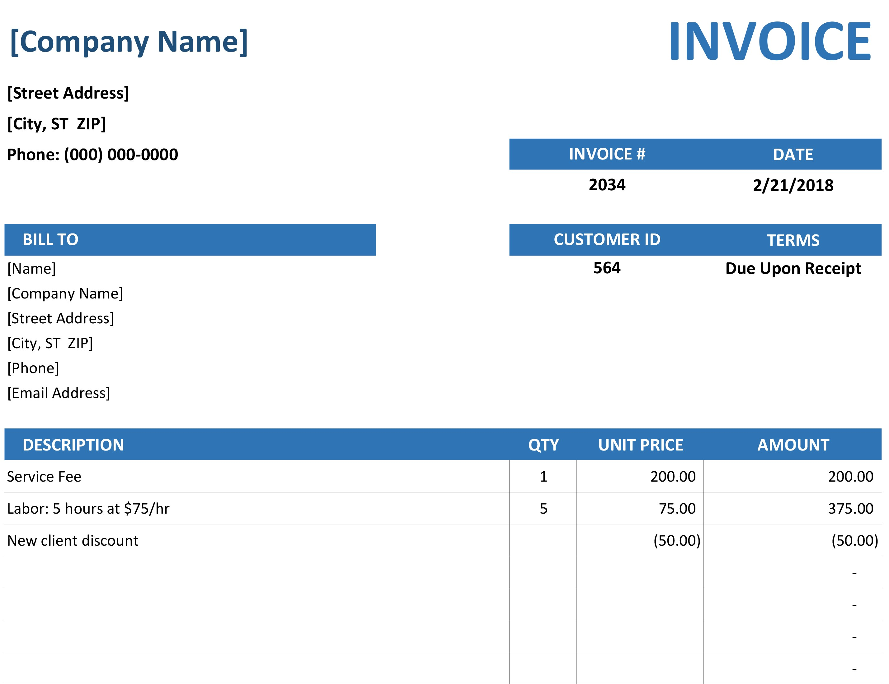 Sample Of Excel Bill Template With Excel Bill Template In Excel