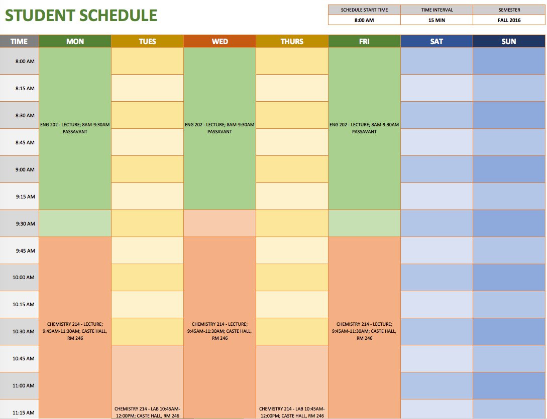 Sample Of Excel Class Schedule Template For Excel Class Schedule Template Download