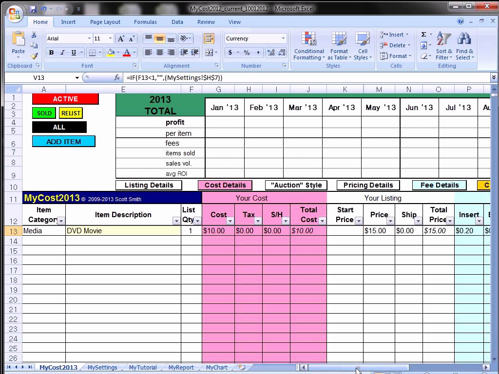 Sample Of Excel Spreadsheet For Ebay Sales Intended For Excel Spreadsheet For Ebay Sales Example