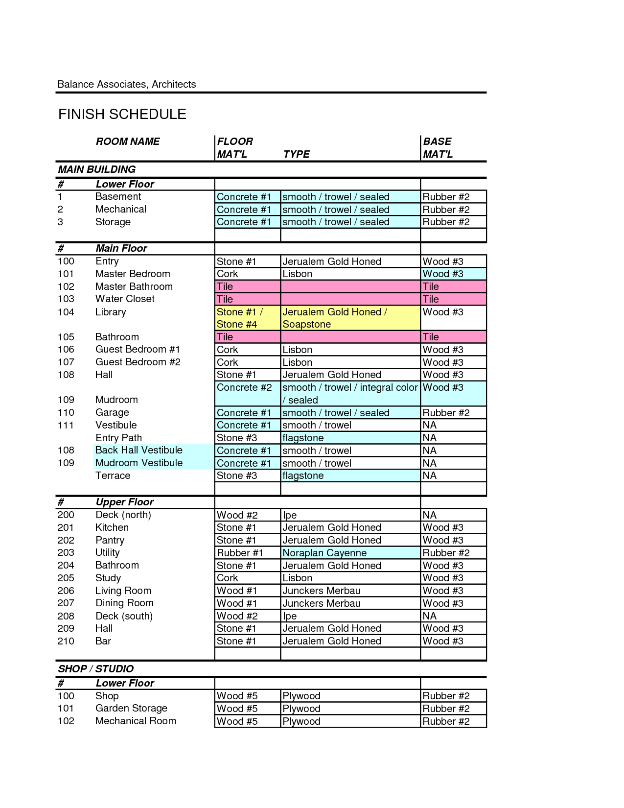 Sample Of Interior Finish Schedule Excel Template With Interior Finish Schedule Excel Template Download For Free