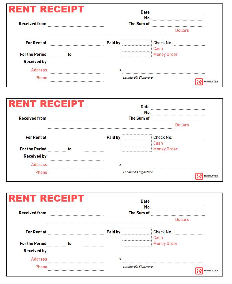 Sample Of Rent Receipt Template Excel In Rent Receipt Template Excel Xls