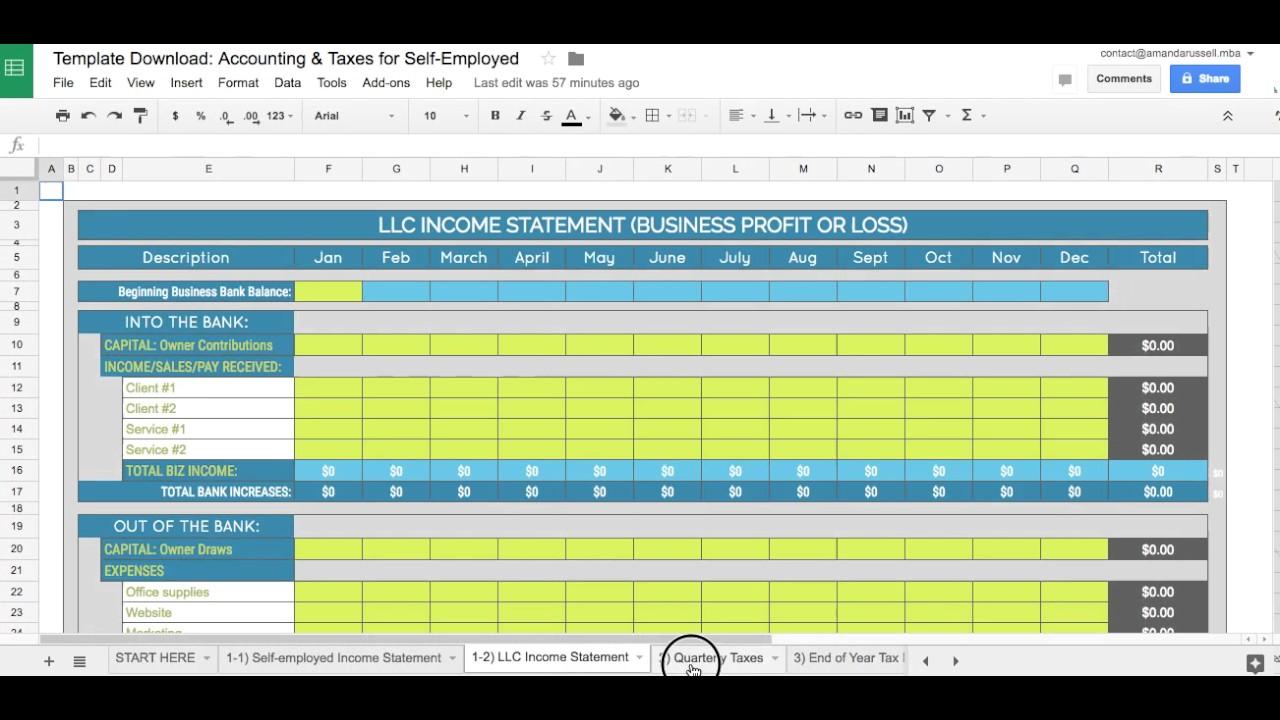 Sample Of Self Employed Expense Spreadsheet Within Self Employed Expense Spreadsheet Document