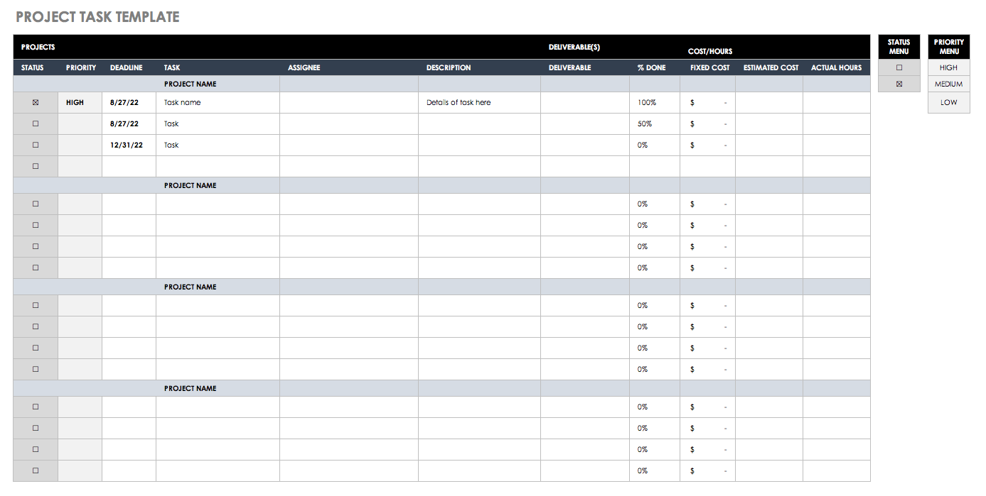 Sample Of Task Template Excel And Task Template Excel Document