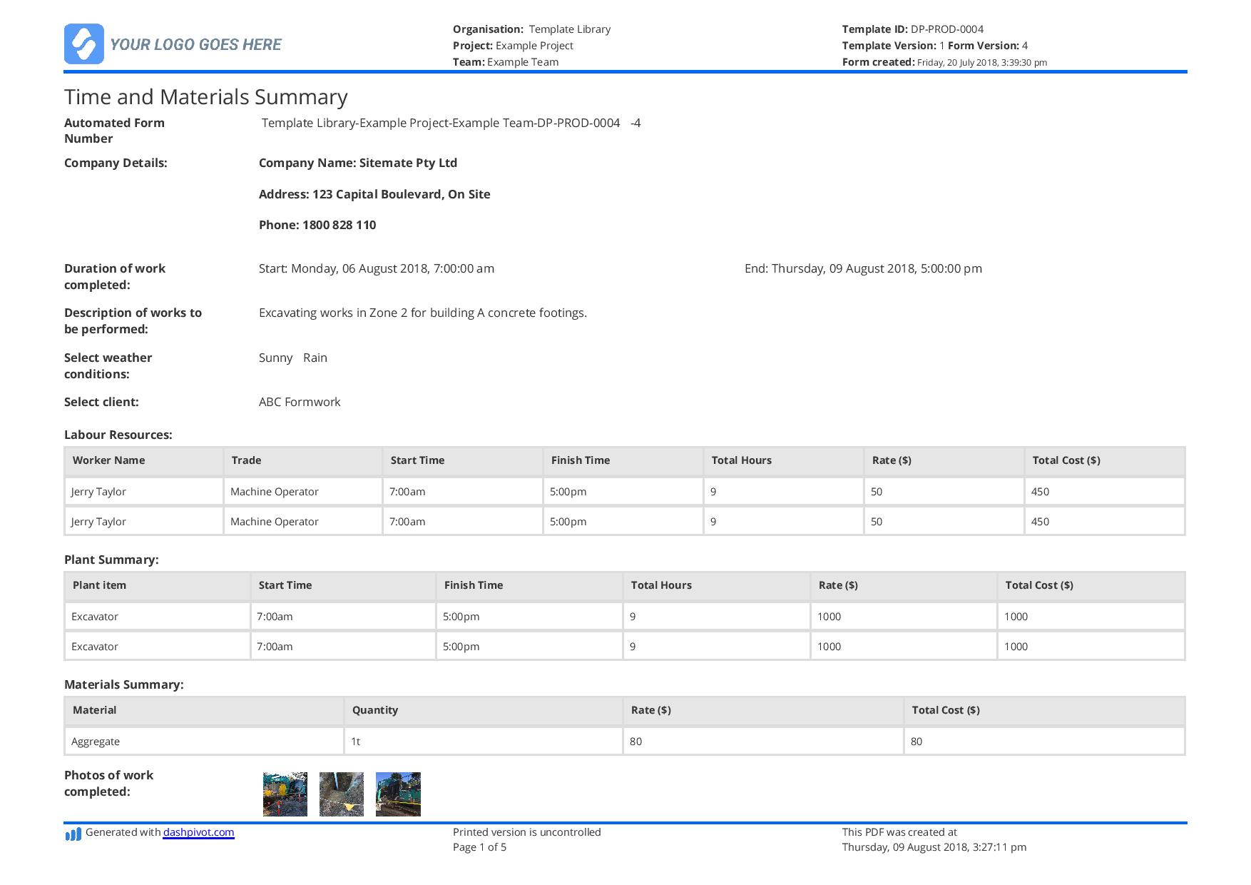 Sample Of Time And Material Template Excel With Time And Material Template Excel Free Download