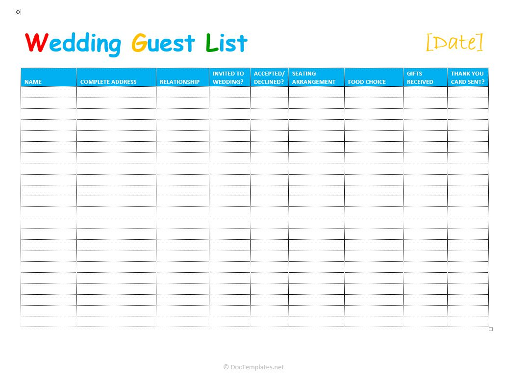 Sample Of Wedding Guest Excel Template And Wedding Guest Excel Template Document